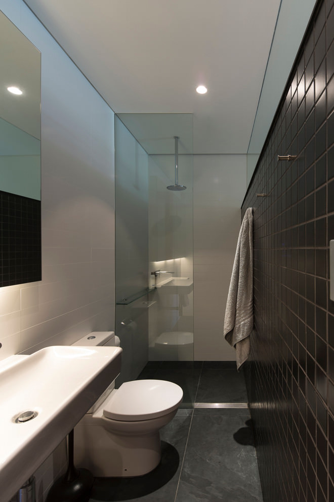 Narrow contemporary with tiles bathroom design