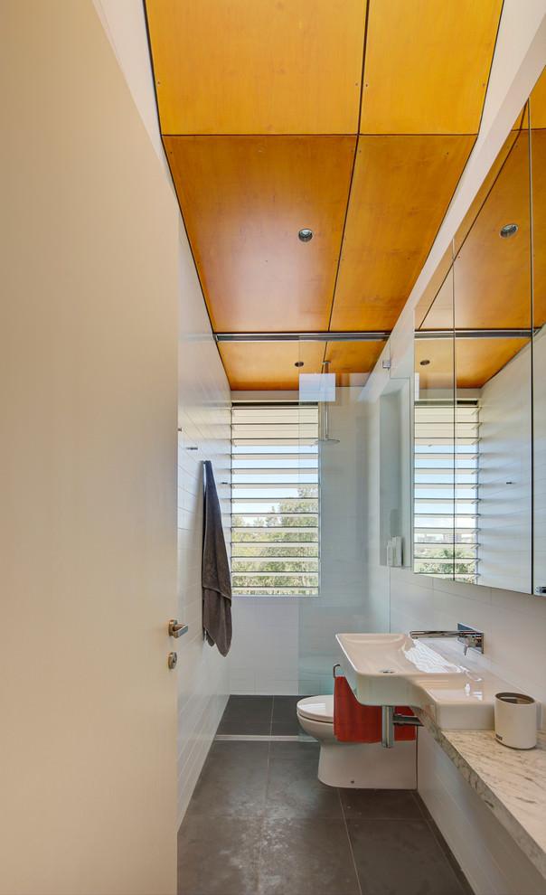 narrow wooden floor bathroom design