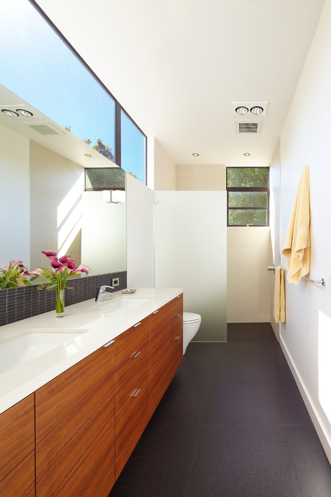 Ravishing white narrow bathroom design