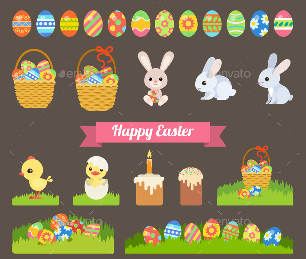 Pictorial Presentation of Happy Easter Holiday Set