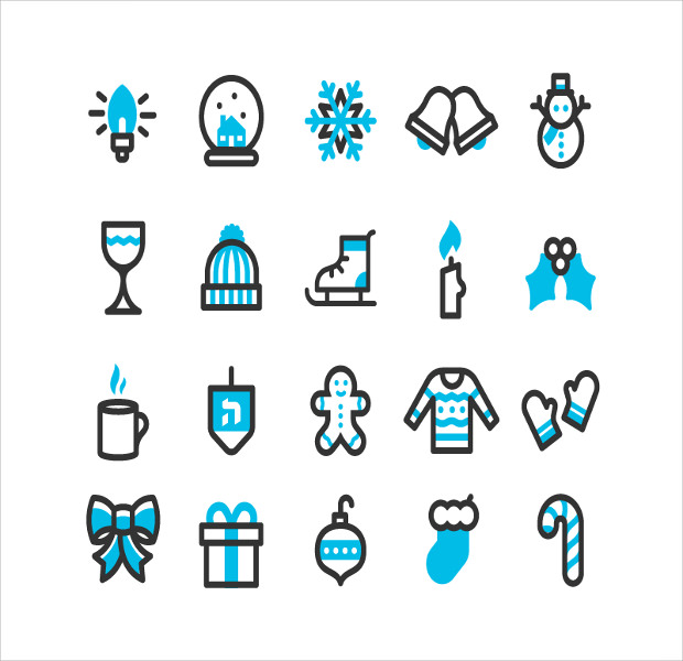 Variation of the Winter Holiday Icon set