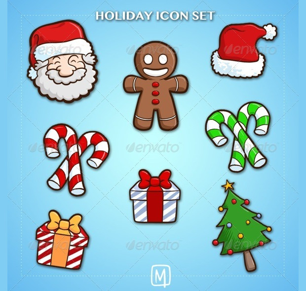 Decorative Festive Holiday Icons