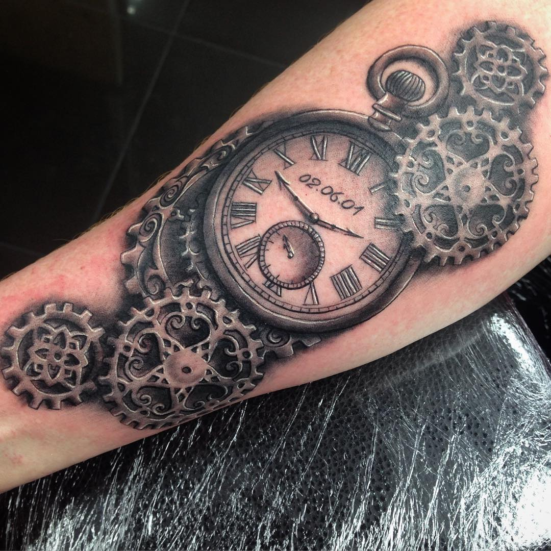 Pocket Watch Steampunk Tattoo Design