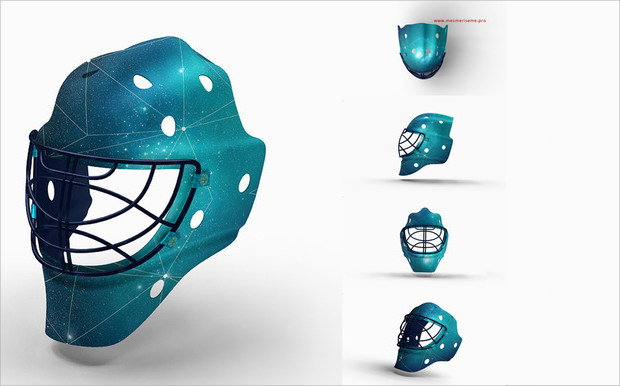 cool stylish hockey helmet icon
