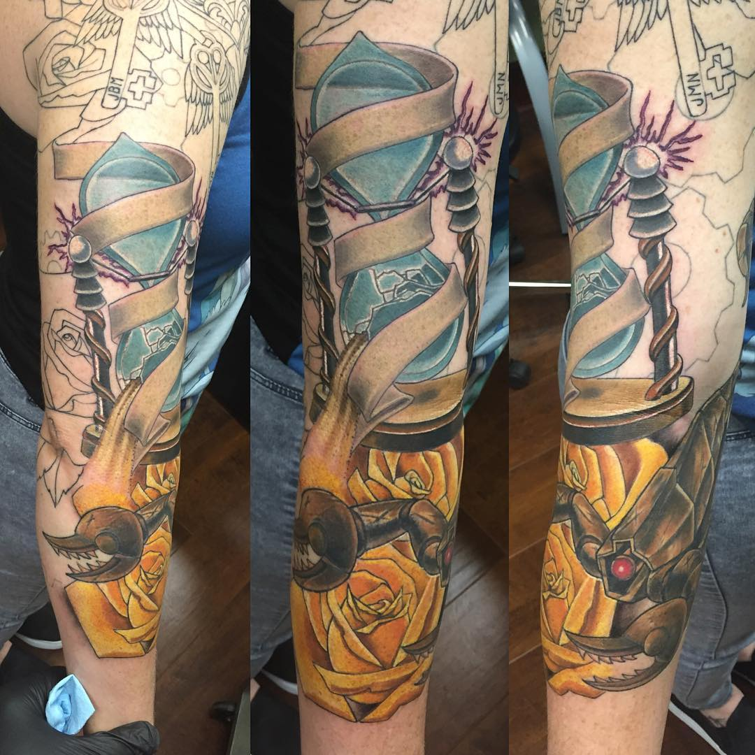 Yellow Roses Steampunk Tattoo Design