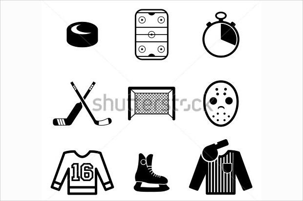 set of hockey icons