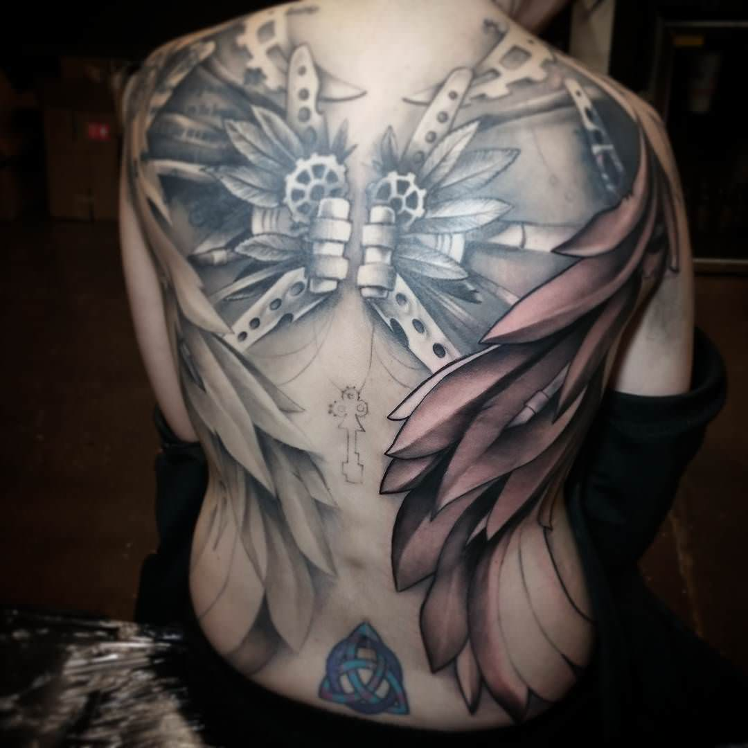 Wings Steampunk Tattoo Design