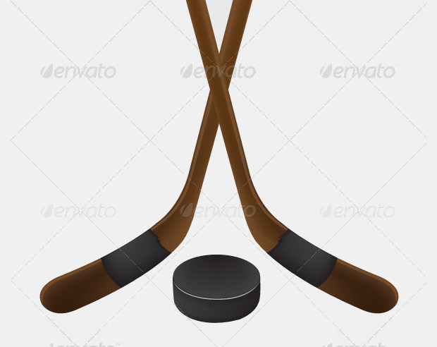 Set Of Hockey Stick And Puck