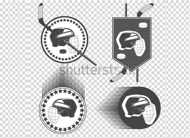 Set of Hockey logo set helmet with hockey pack, hockey stick