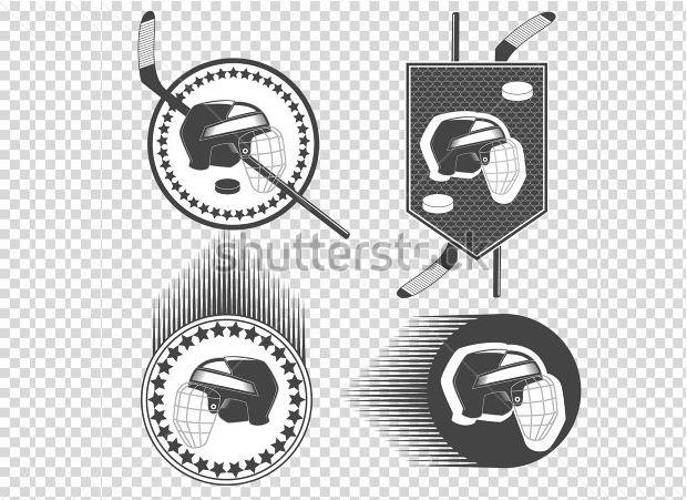 set of hockey logo set helmet with hockey pack hockey stick