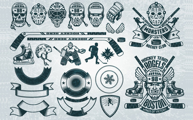 Complete Hockey Buddle Icons.
