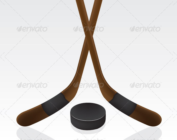 Set Of Hockey Stick Along With Pack Icon