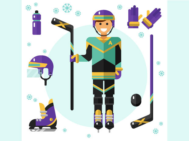 Hockey Player Along WIth Complete Hockey Kit Illustration