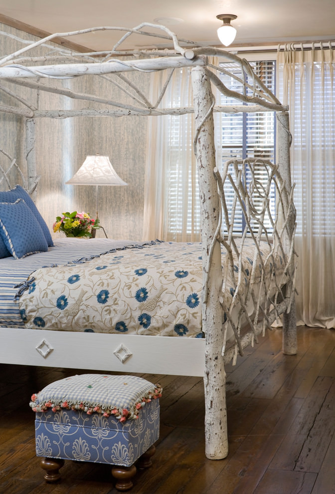 Eclectic rustic tree bedroom design