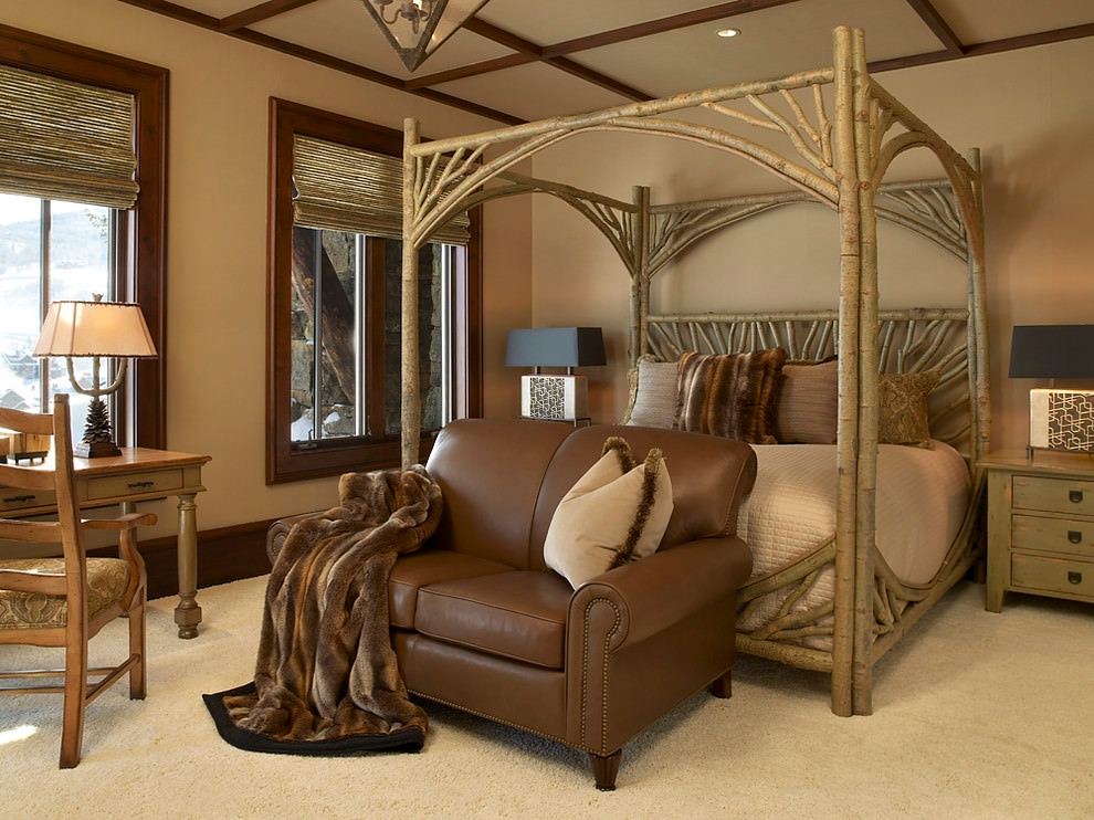 Rustic old tree style bedroom design