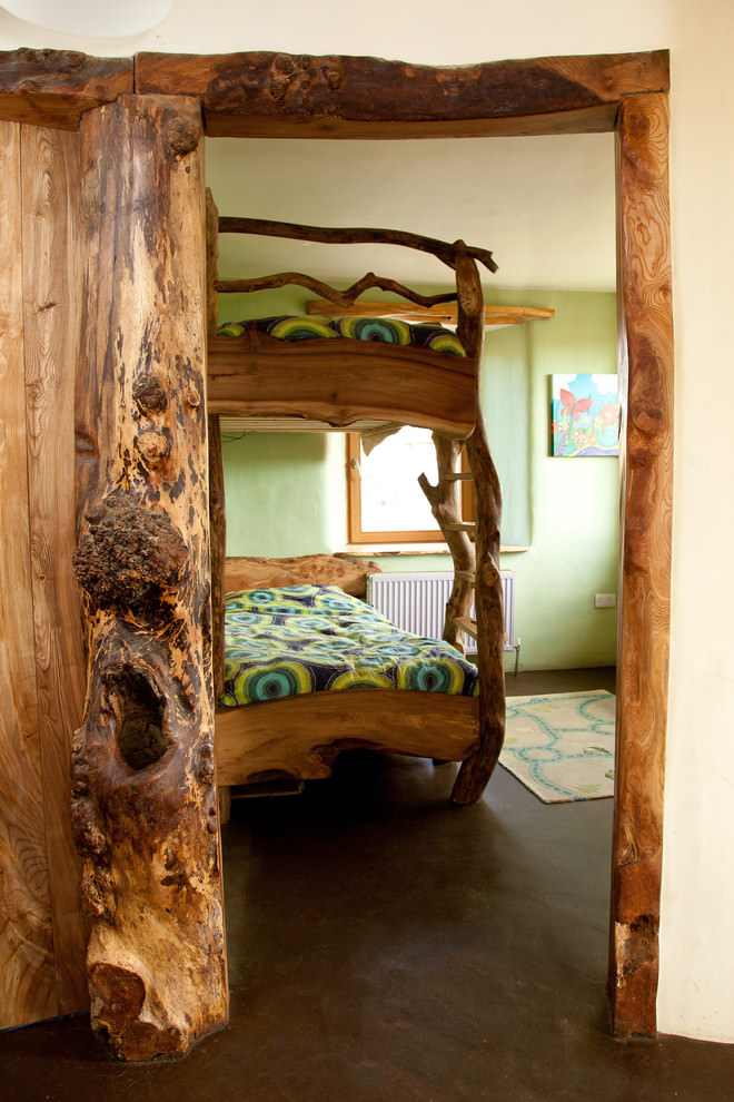 wood house eclectic kids bedroom design