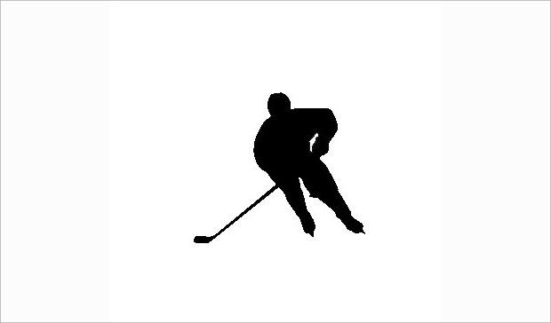 single hockey player shadow illistration