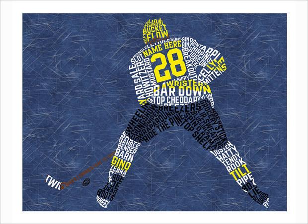 custom typographic print hockey player icon
