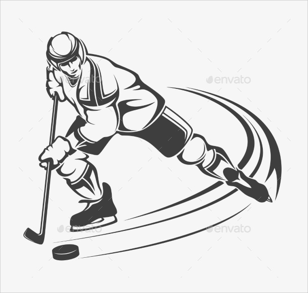 hockey player along with stick and punk