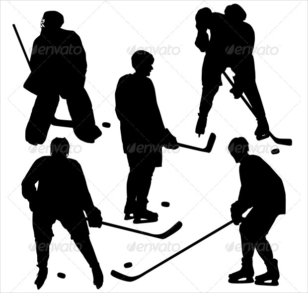 set of dark shadow icons of hockey player