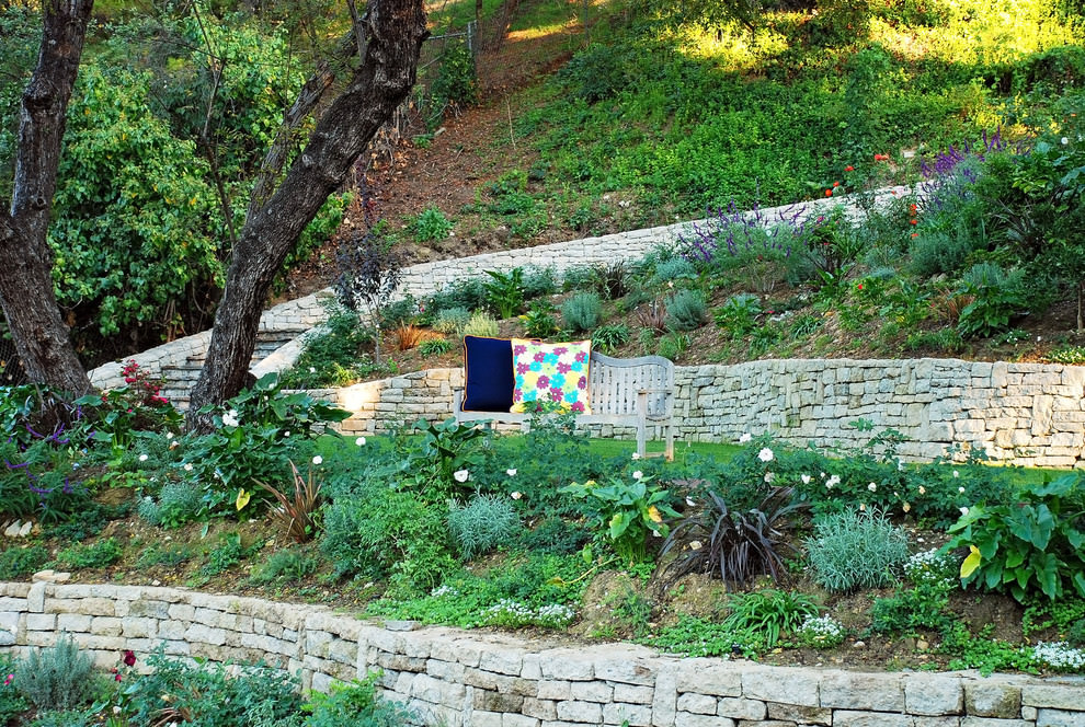nice rustic outdoor bench design in landscape