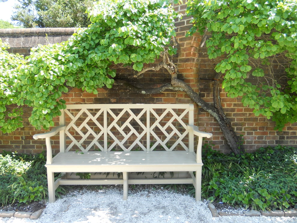 Outdoor rustic wooden bench design in traditional landscape