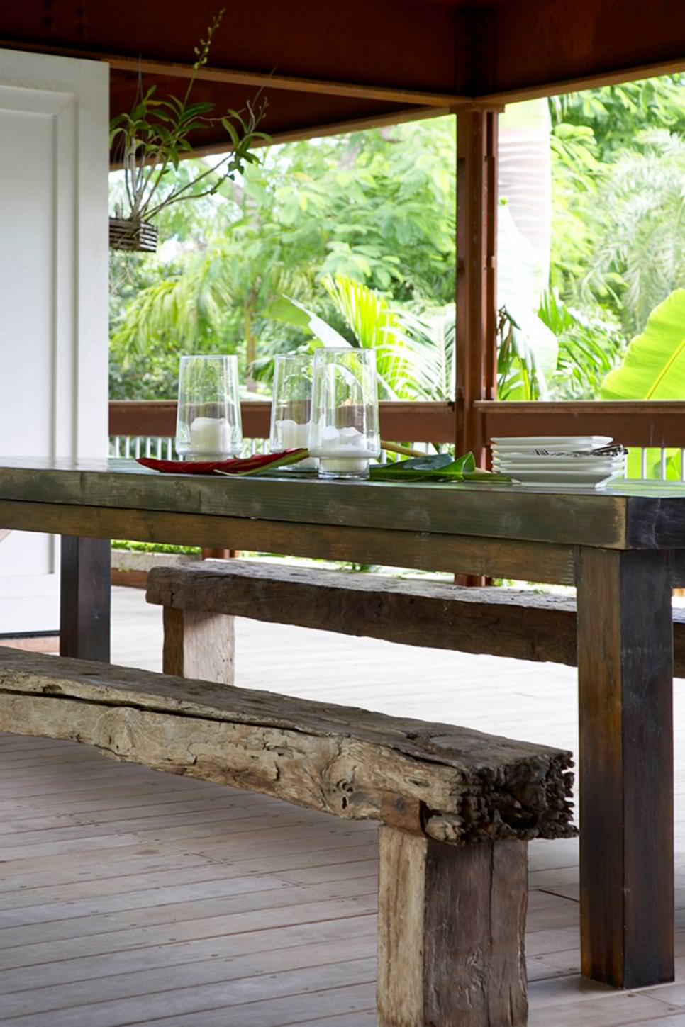 Rustic Wood Dining Table and Bench on Porch