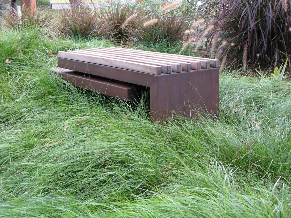 rustic ourdoor bench design in landscape