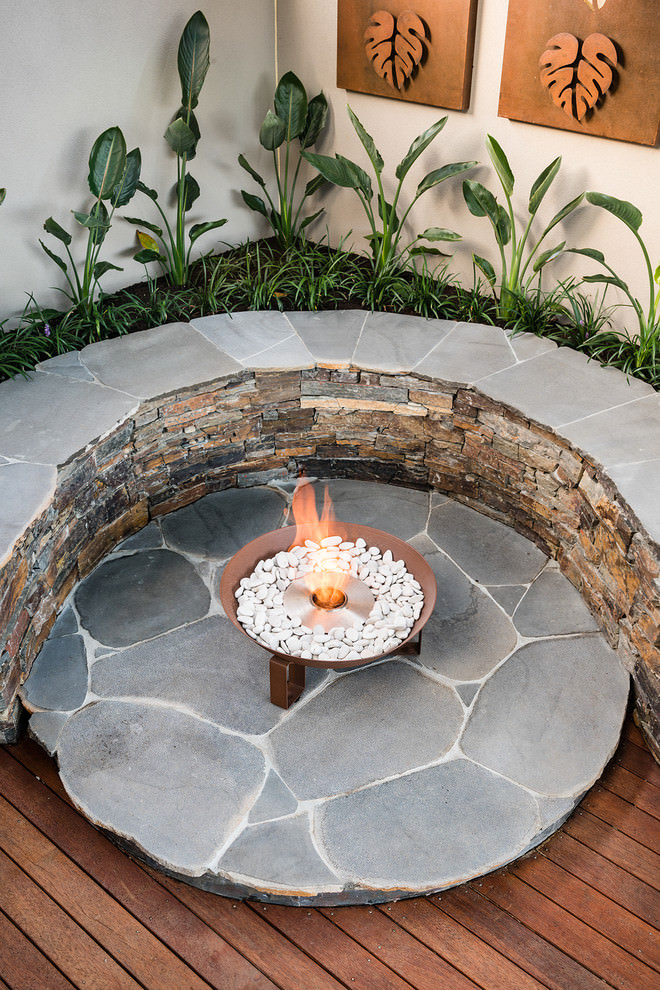 Stone made rustic outdoor bench design landscape