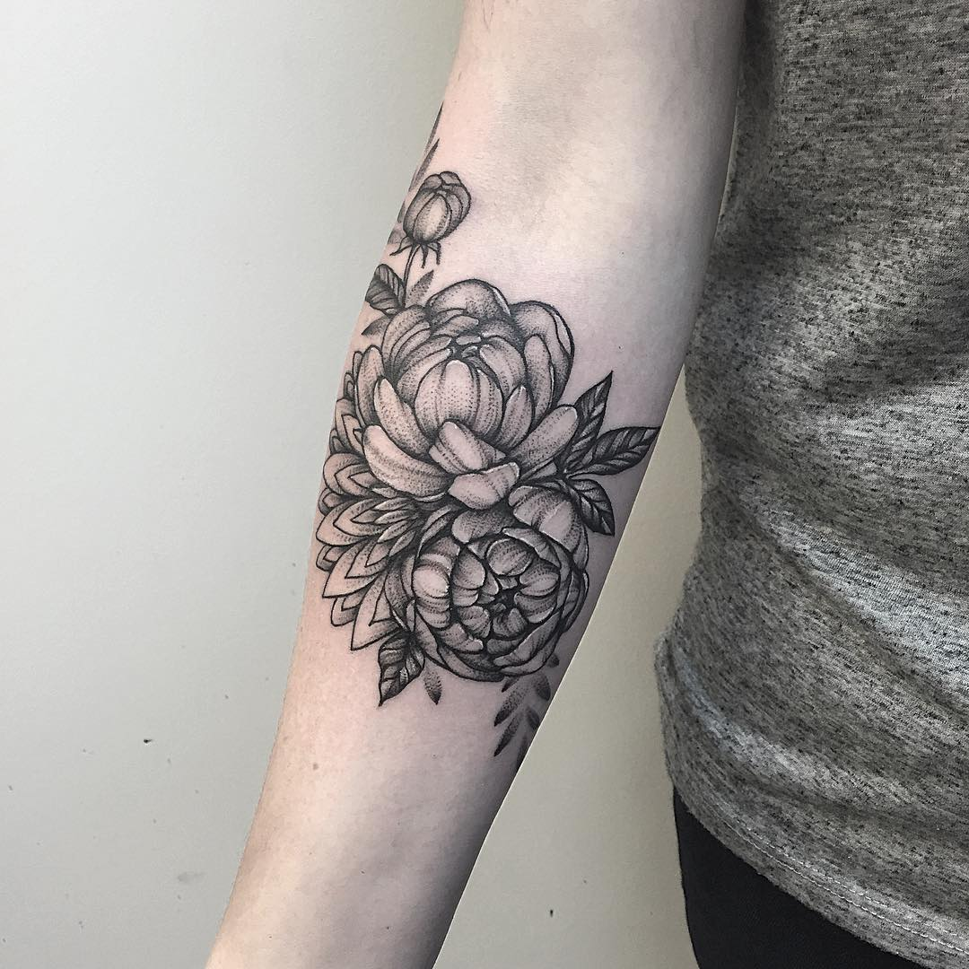 Flower Peony Tattoo Design