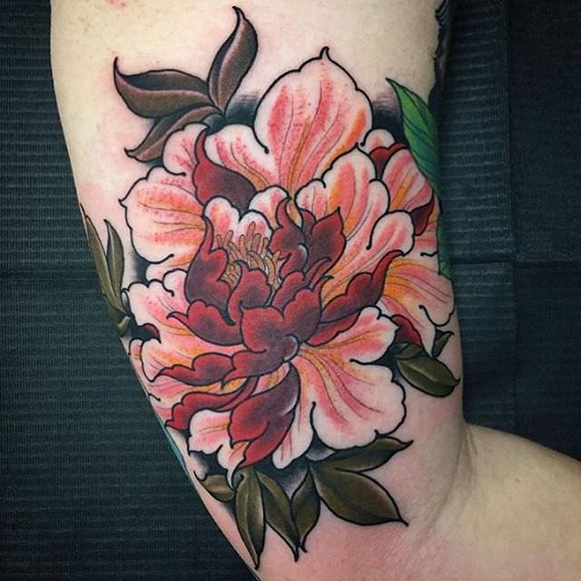 Colorful Peony Tattoo Design