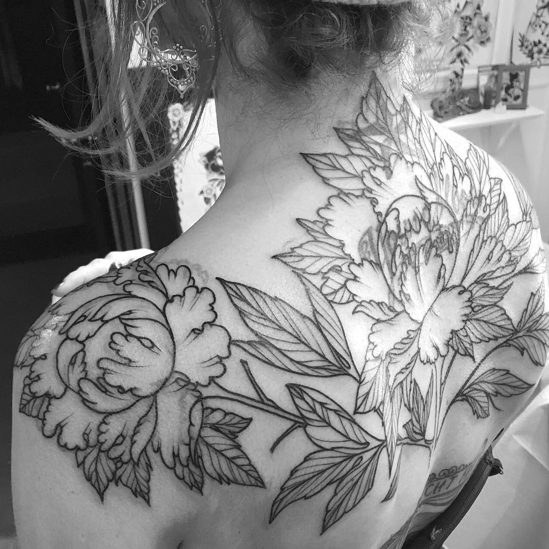 Best Traditional Peony Tattoo Design