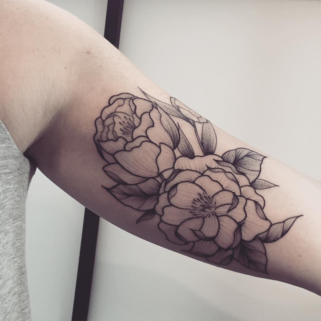 floral peony tattoo design