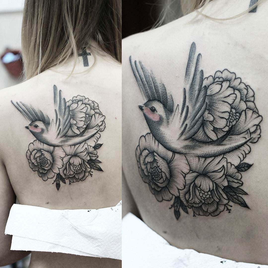 Flying Bird Peony Tattoo Design