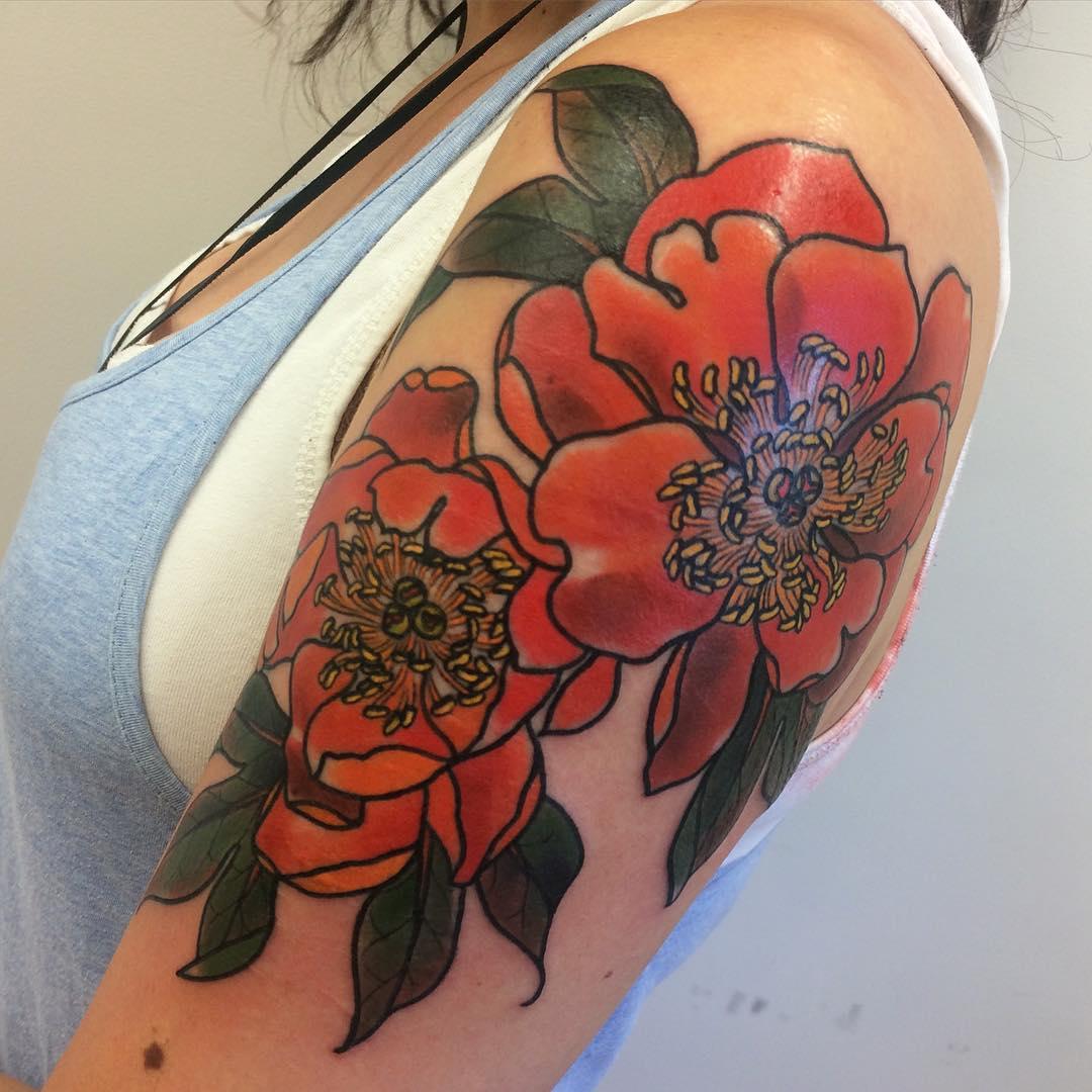Melbourne Peony Tattoo Design