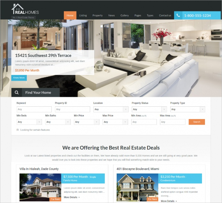 Bootstrap Real Estate WordPress Template