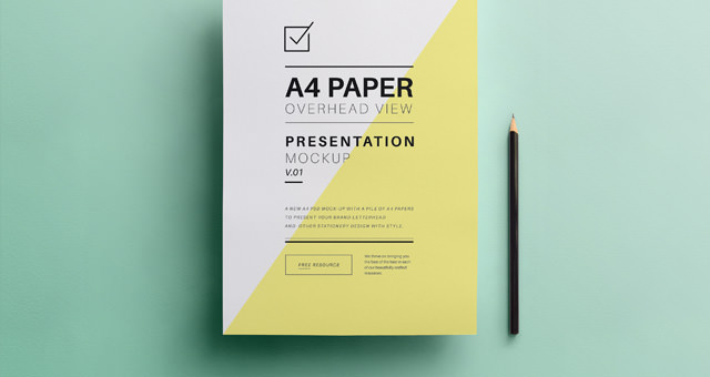 A4 Overhead Paper Mockup