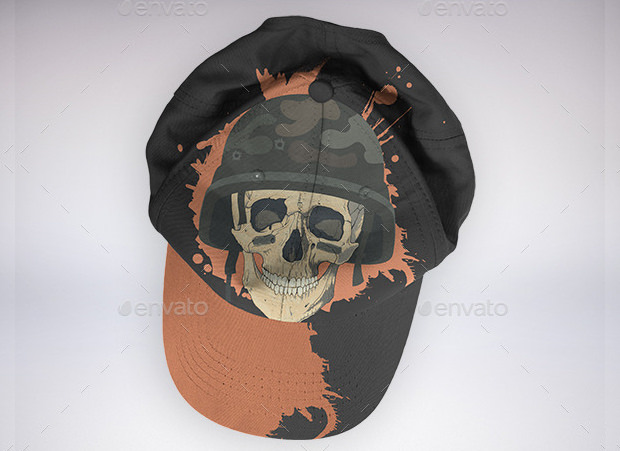 cool skull cap mock up