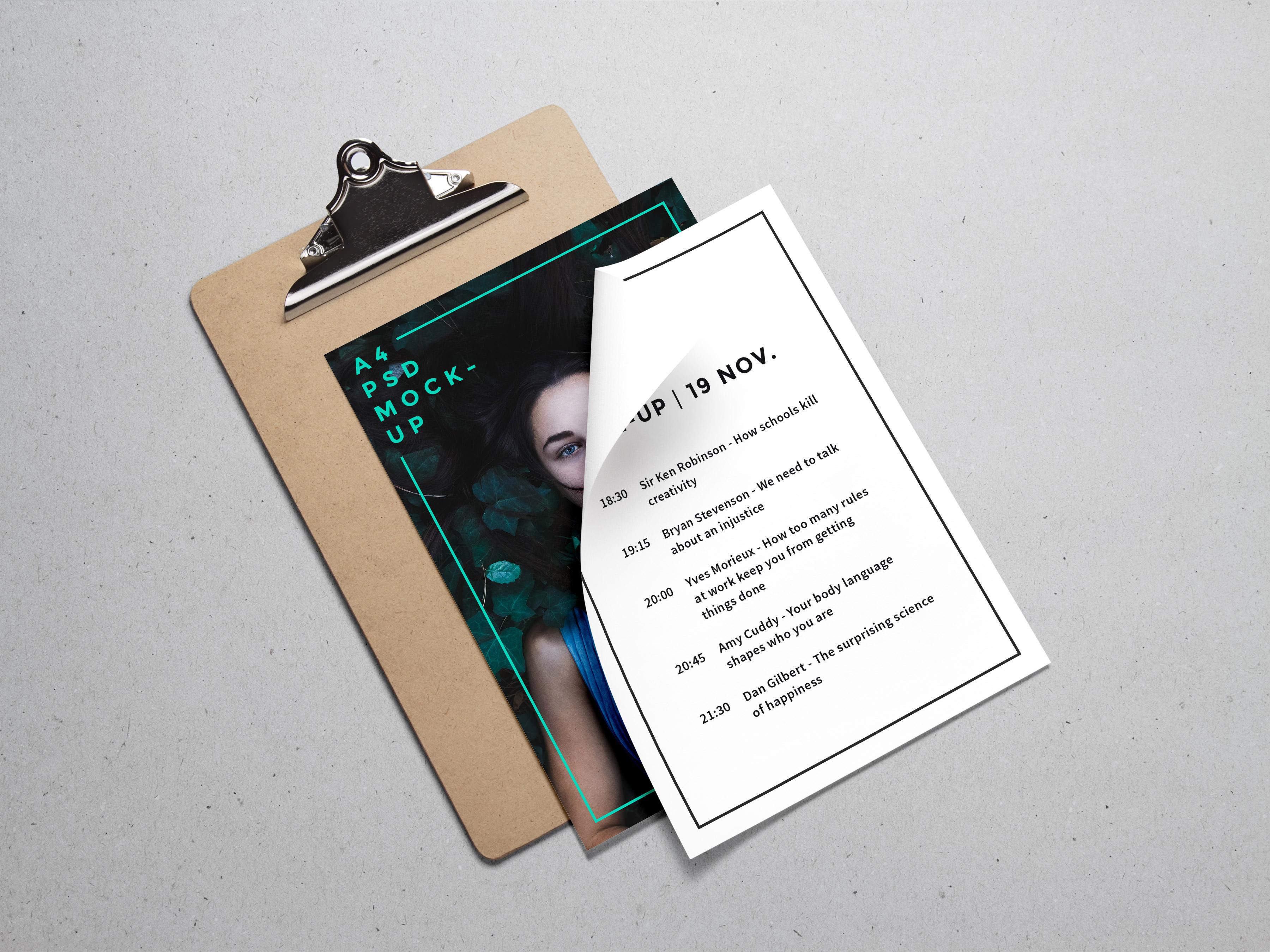 A4 PSD Paper Mockup