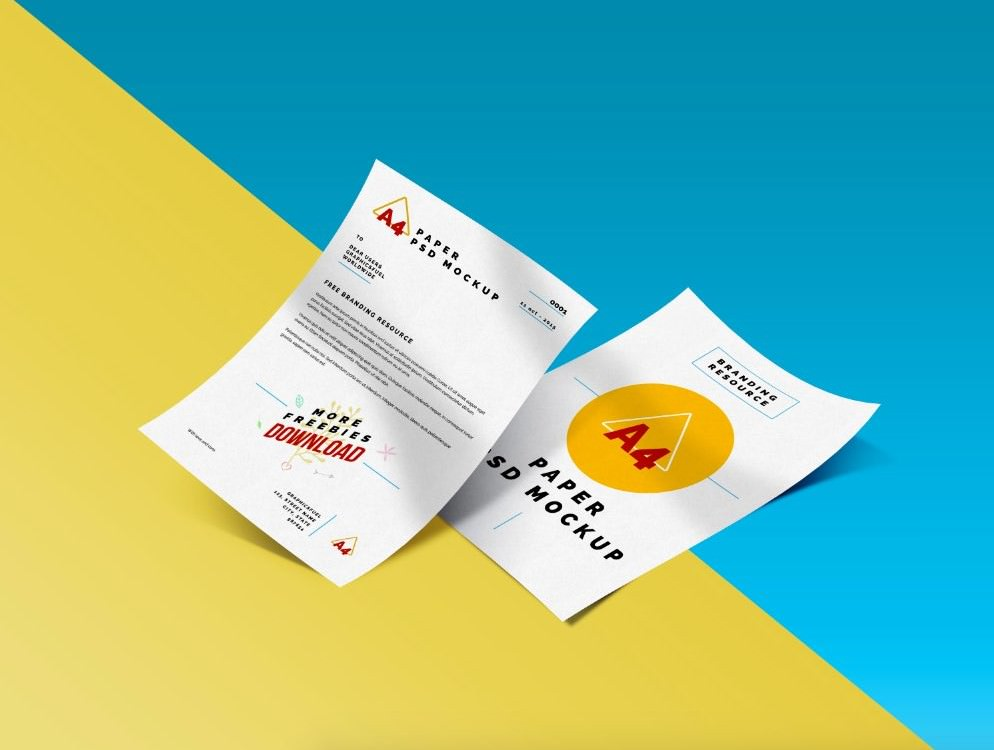 two a4 paper mockup psd
