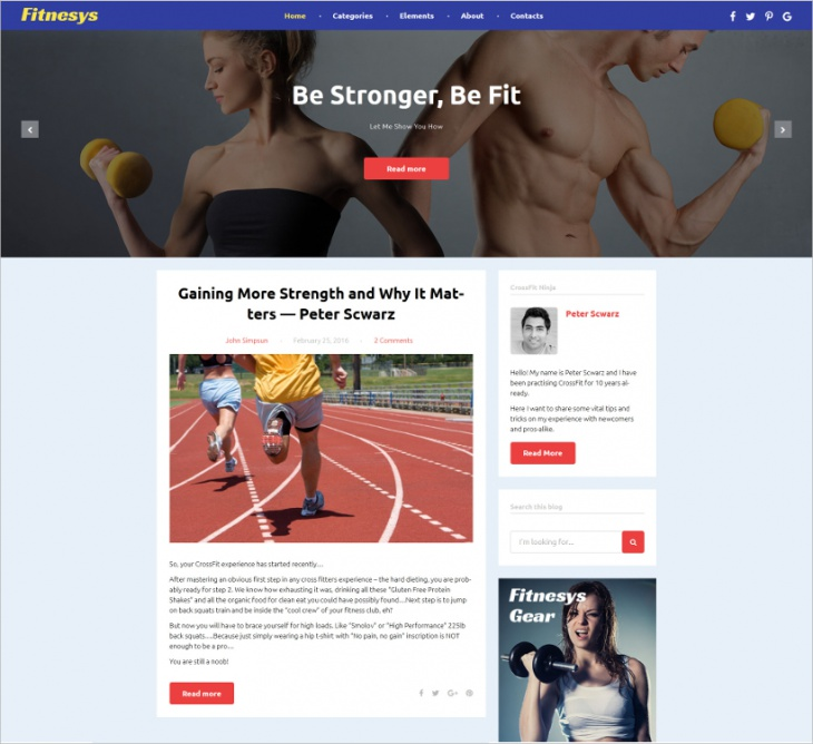 WordPress Fitness Blog Theme