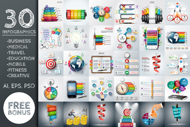 30 Different Infografic Business banner Tempaltes Download