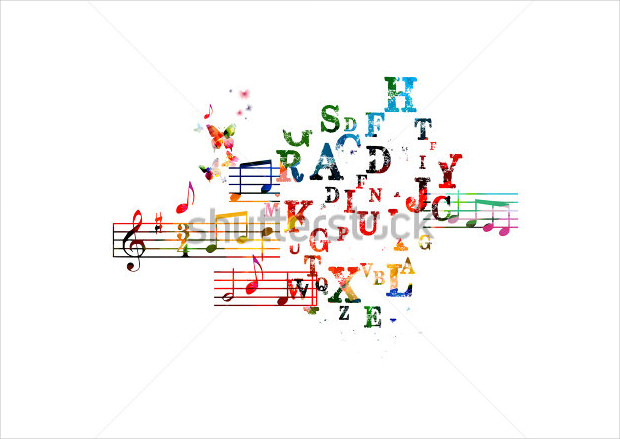 colorful music background font