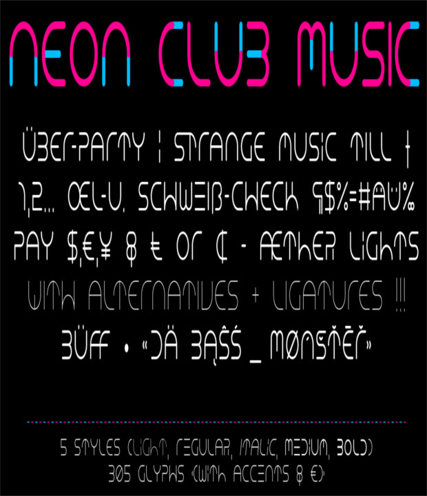 Neon Styles of Music Fonts