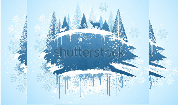 Blue and white winter forest Design