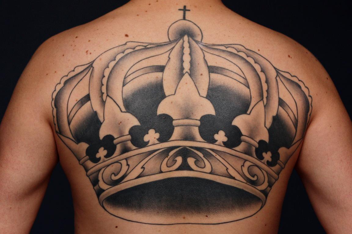 Full Length Crown Tattoo Design