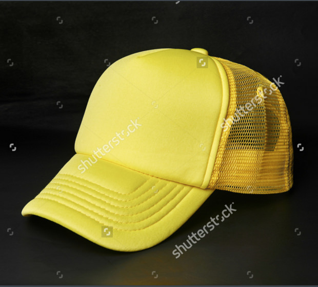 single yellow color sports cap mock up desgin