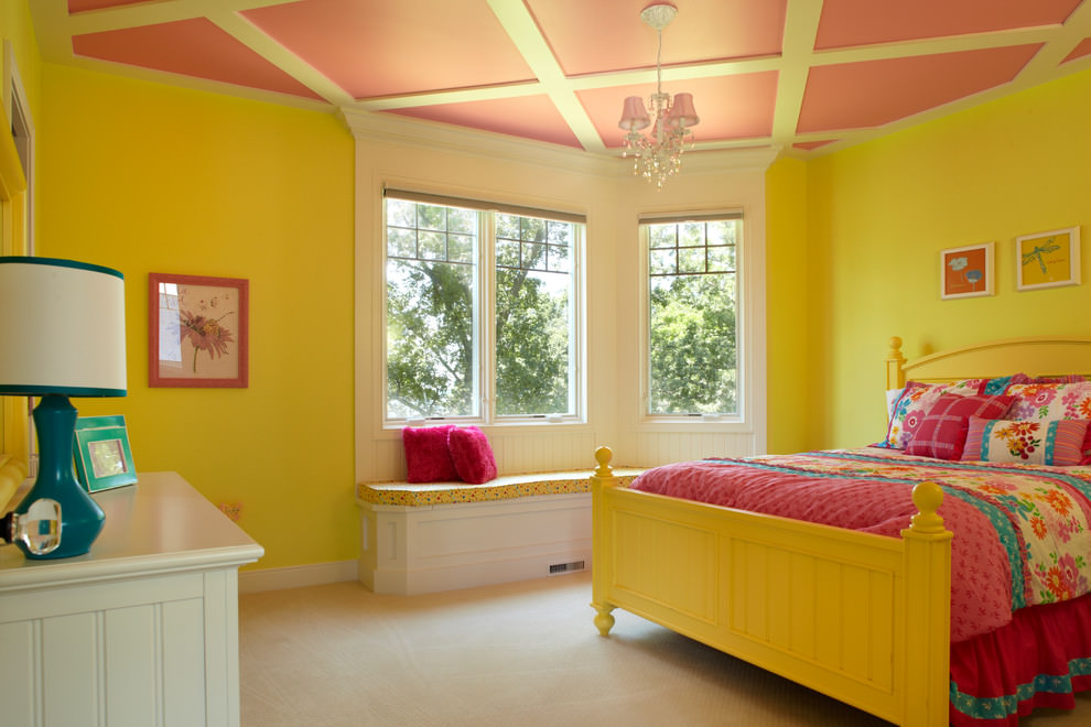 awesome yellow color kids bedroom design