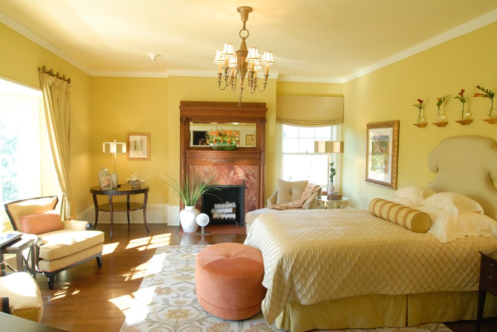traditional yellow bedroom design