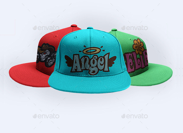pack of three colorful cap mock up